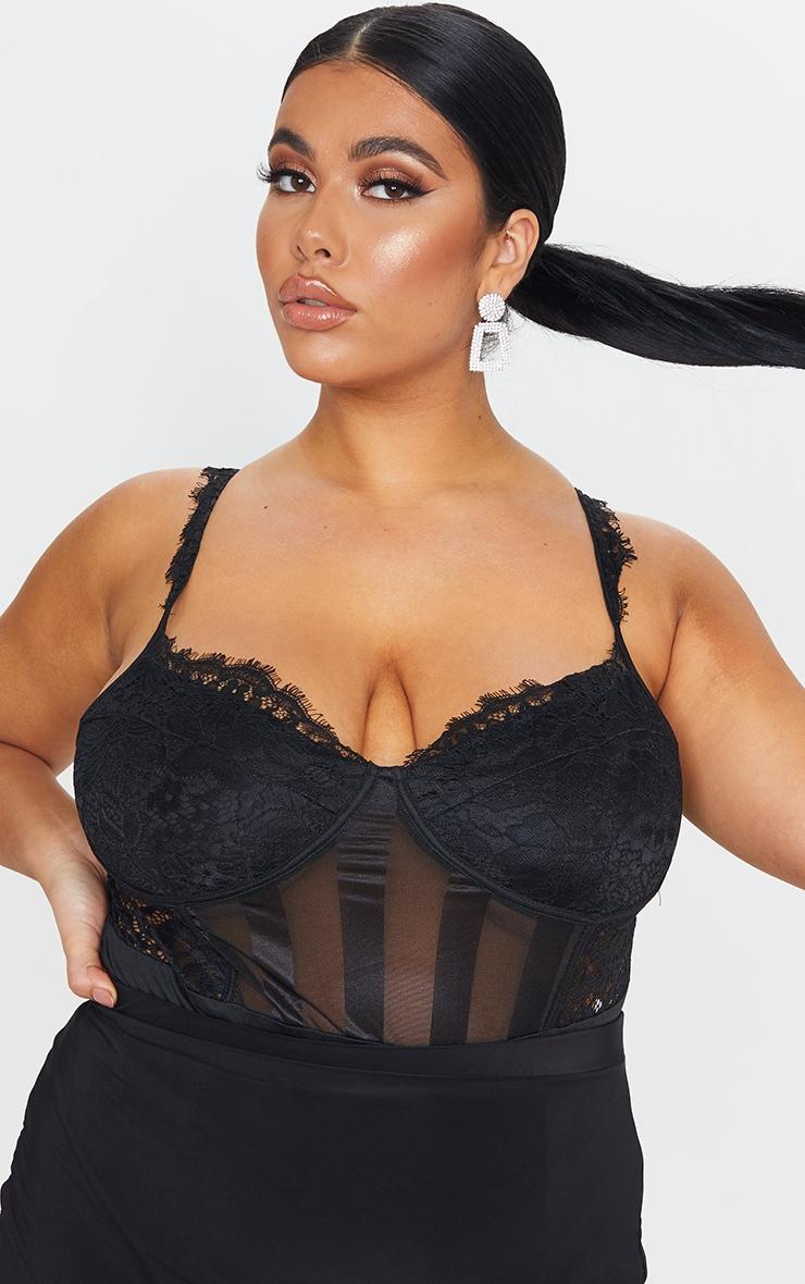 Plus Black Lace Mesh Stripe Bodysuit 1