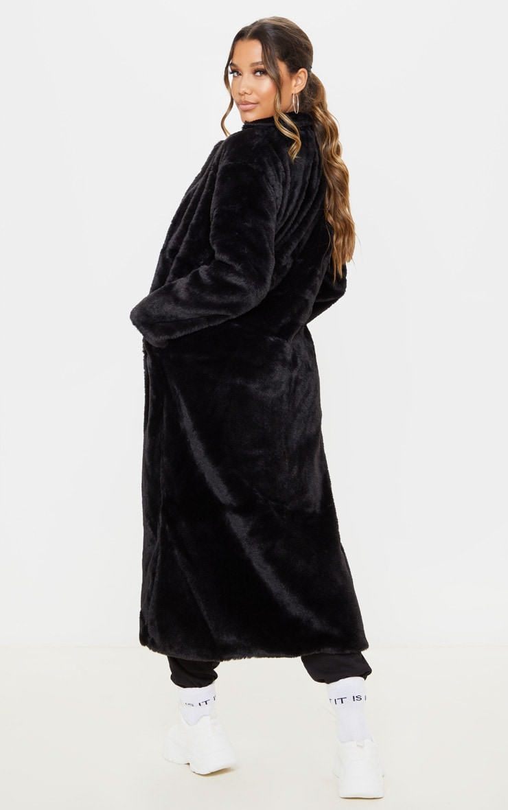 Black Longline Faux Fur Coat 2