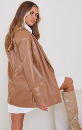 Tan Drop Collar Faux Leather Blazer 2