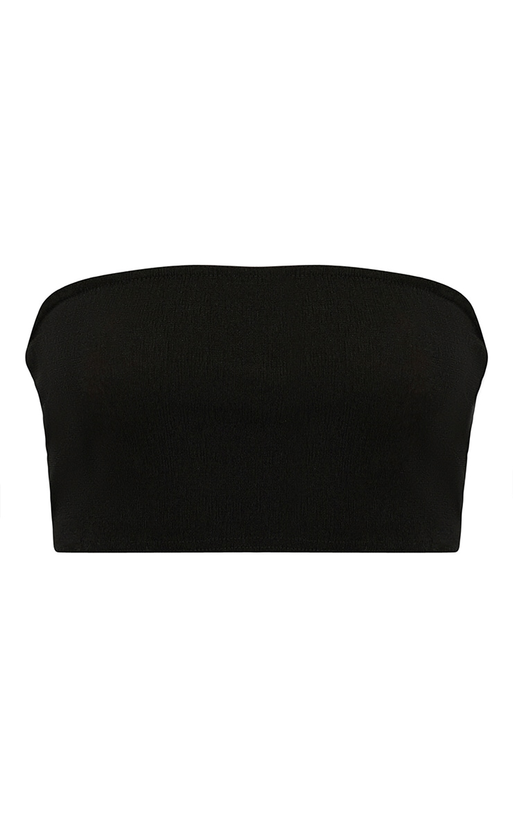 Black Shimmer Slinky Bandeau Crop Top 3
