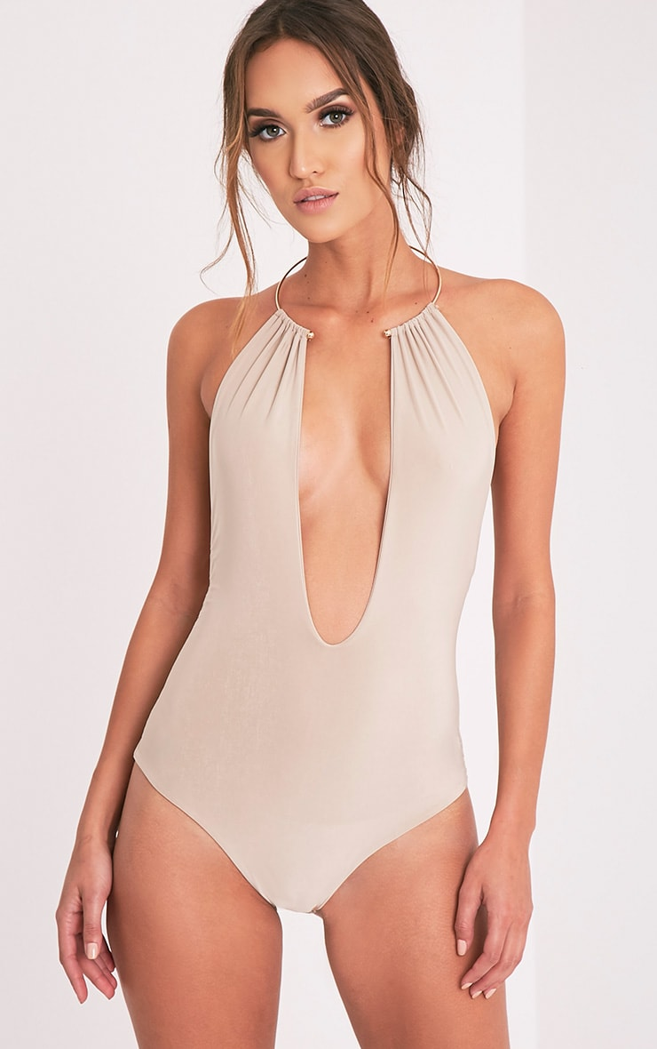 Priana Stone Slinky Metal Necklace Plunge Thong Bodysuit 3