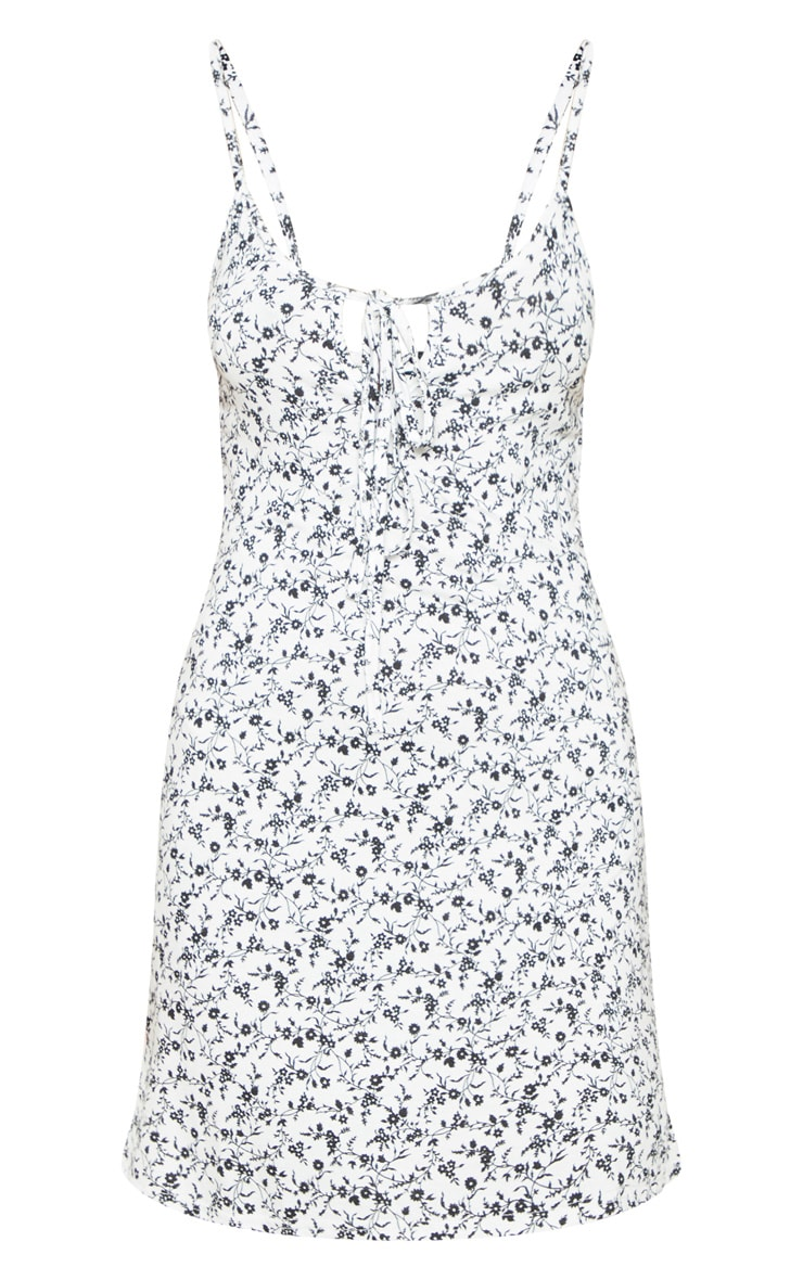 White Ditsy Floral Tie Front Swing Dress 3
