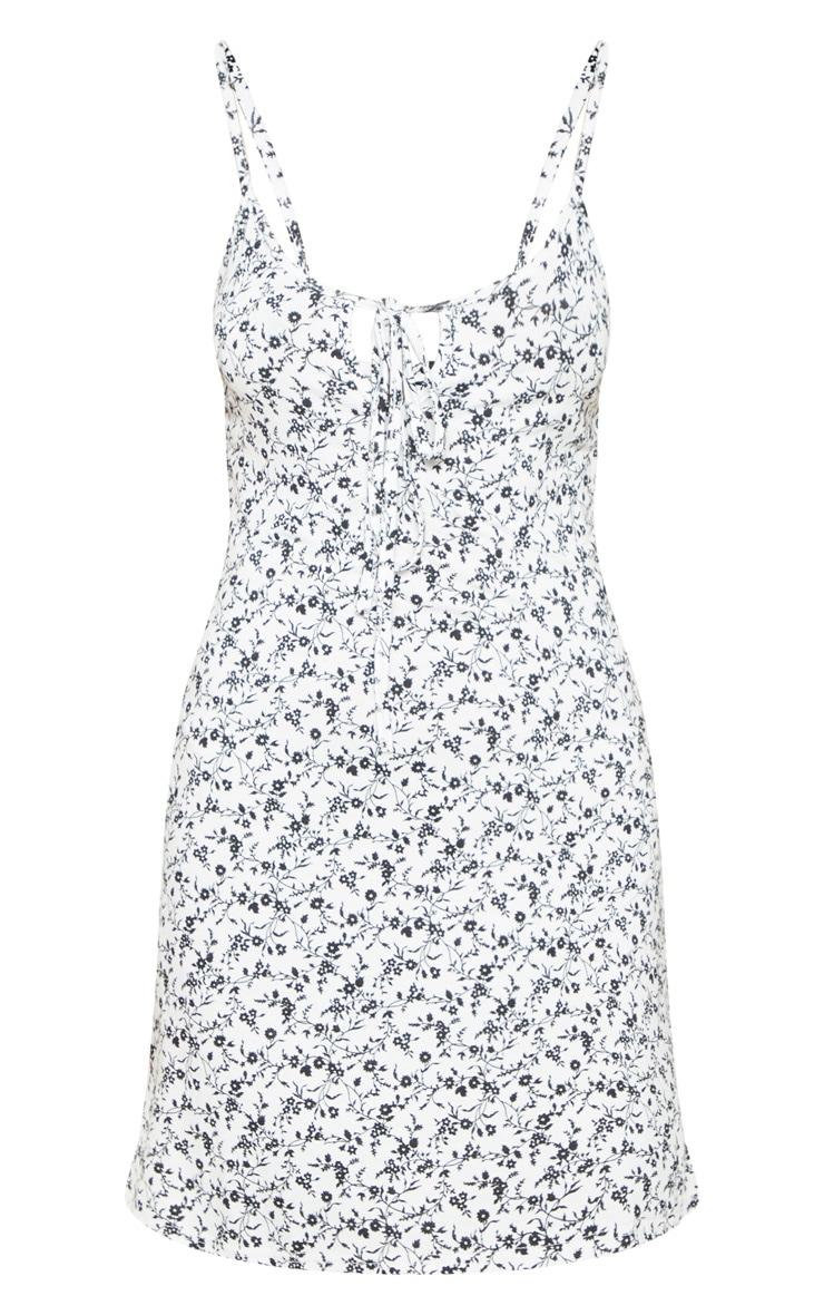 Robe trapèze blanche à imprimé floral & lien frontal  3