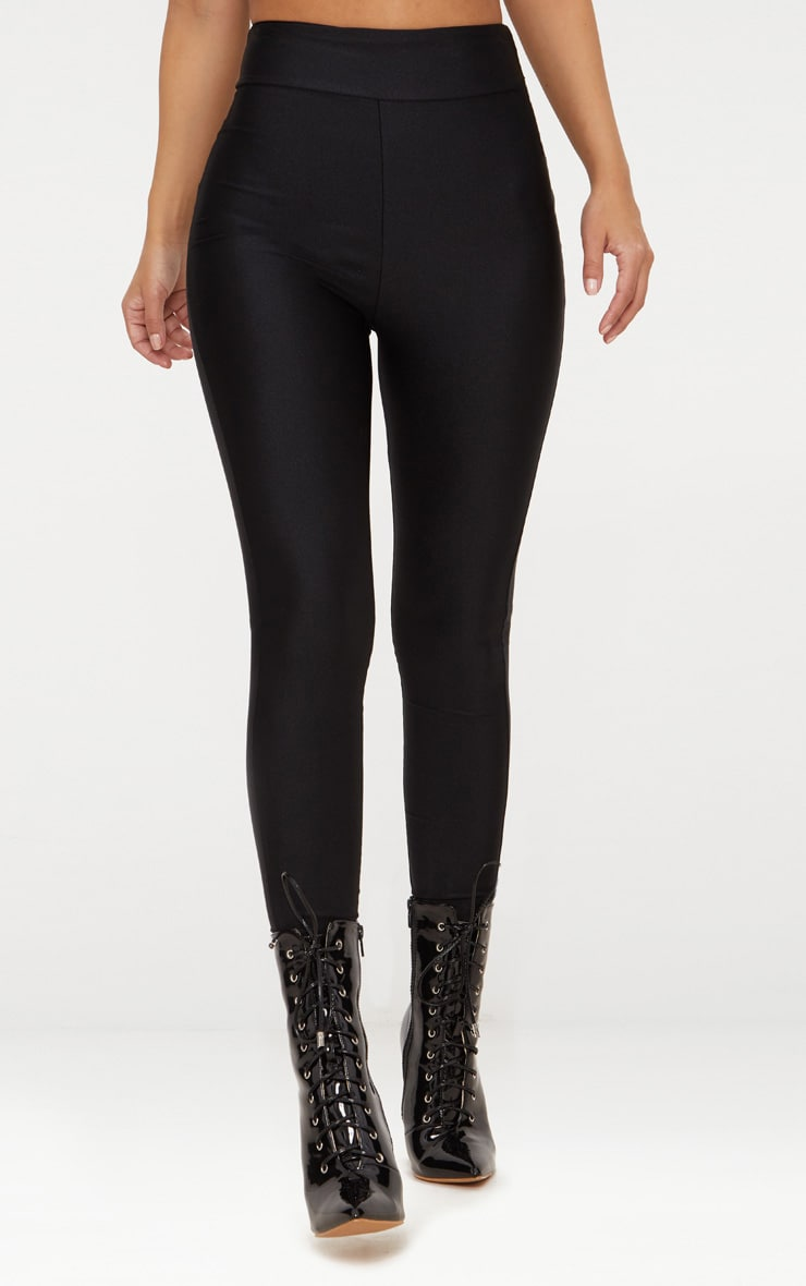Petite Black Disco Slinky High Waisted Leggings 2