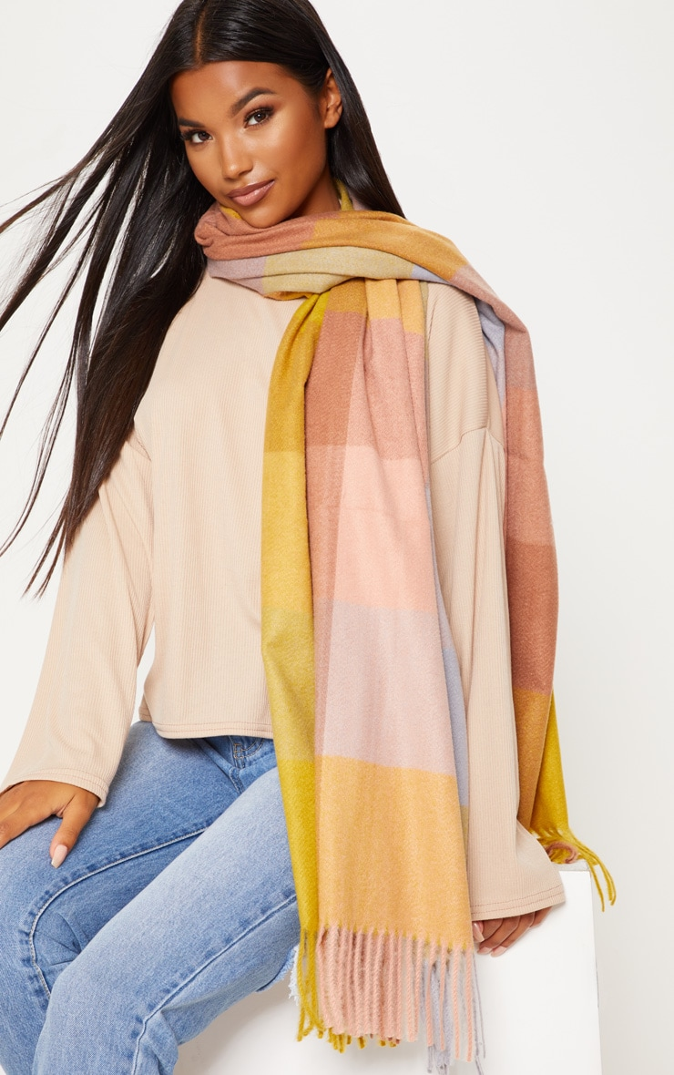 Mustard And Tan Large Check Blanket Scarf