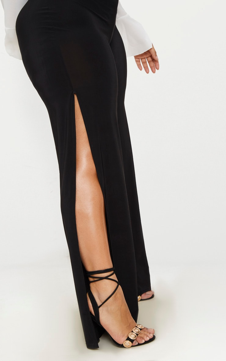 Plus Black Wide Leg Slinky Trousers 5