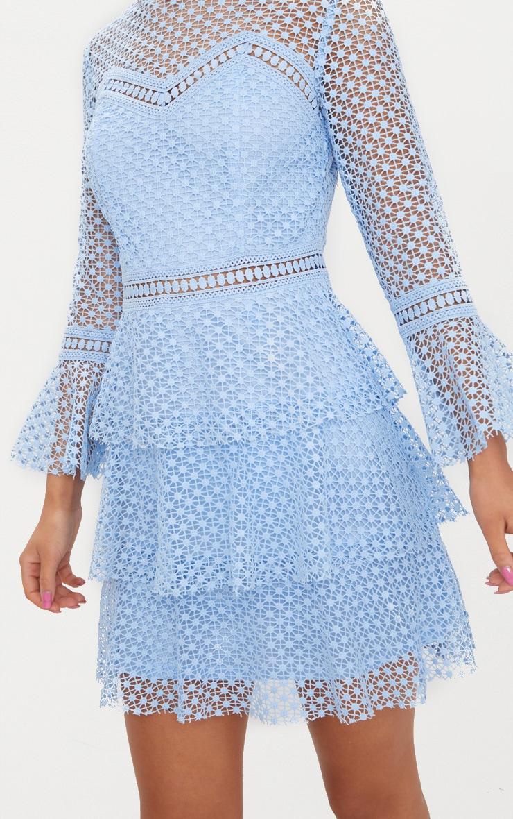 Dusty Blue Flare Sleeve Lace Tiered Mini Dress  5