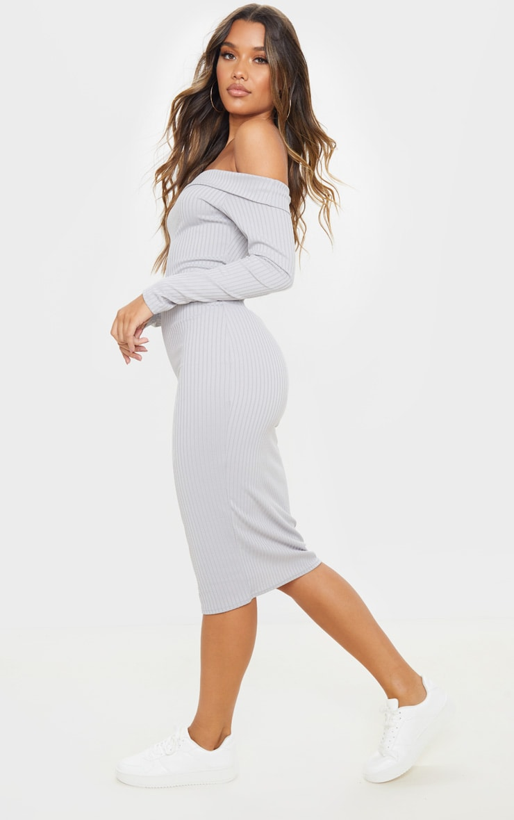 Grey Ribbed Folded Bardot Midi Dress 4