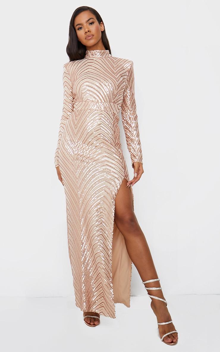 Robe longue en sequins or rose à motifs et col montant 1