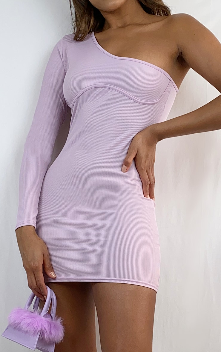 Lilac One Sleeve Underbust Detail Rib Bodycon Dress 4