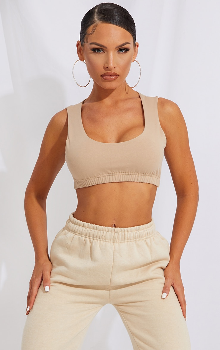 Sand Scoop Neck Cotton Crop Top 1