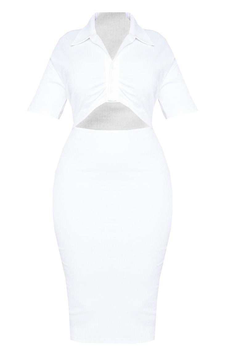 Plus White Thick Rib Cut Out Midi Dress 5