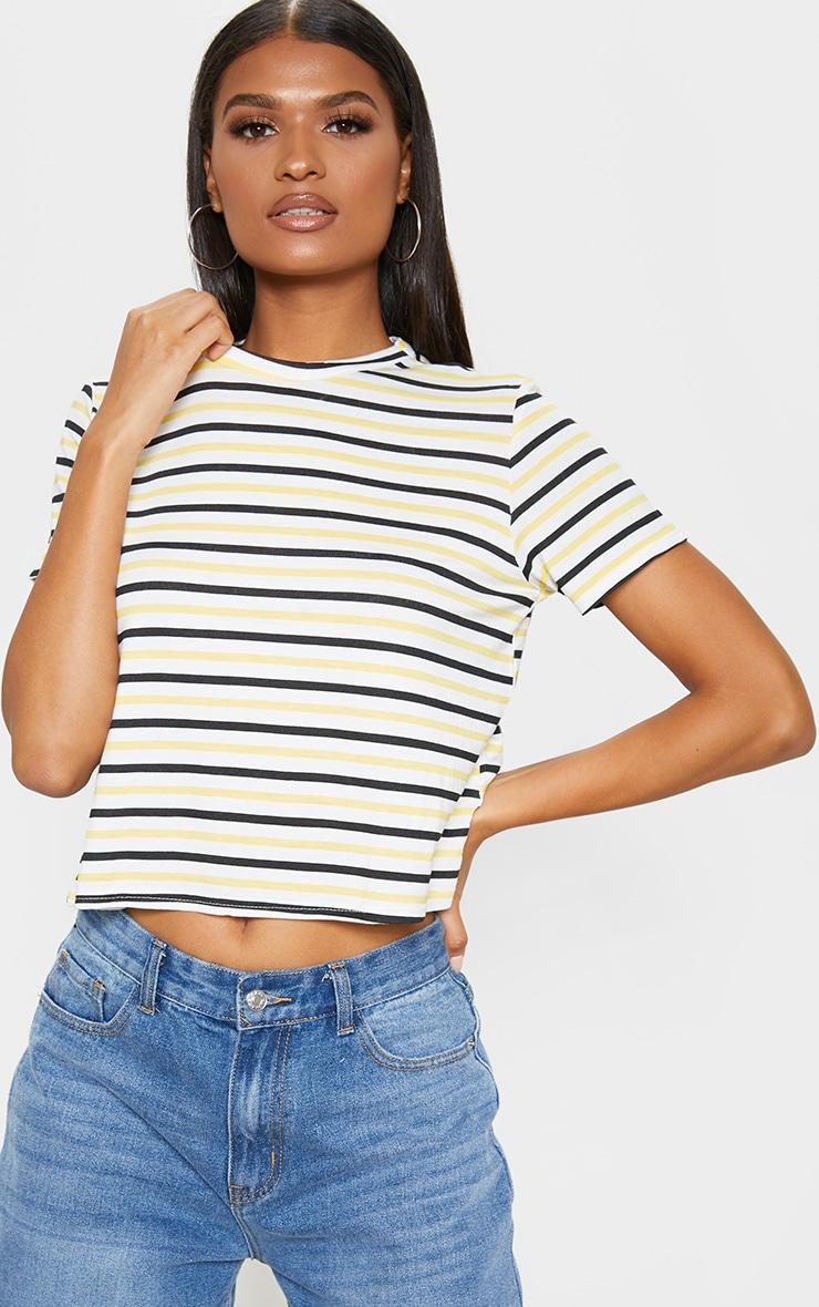 T-shirt à rayures bleues et jaunes 1