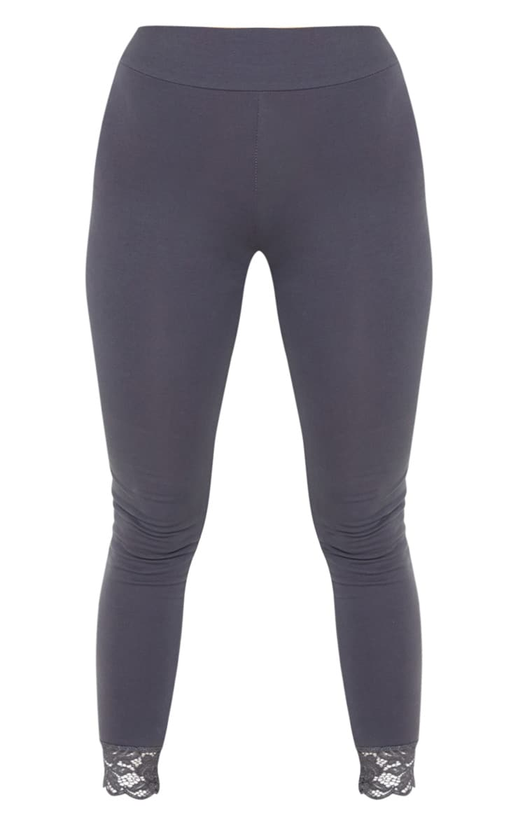 Grey Lace Trim Cotton Elastane Legging 3