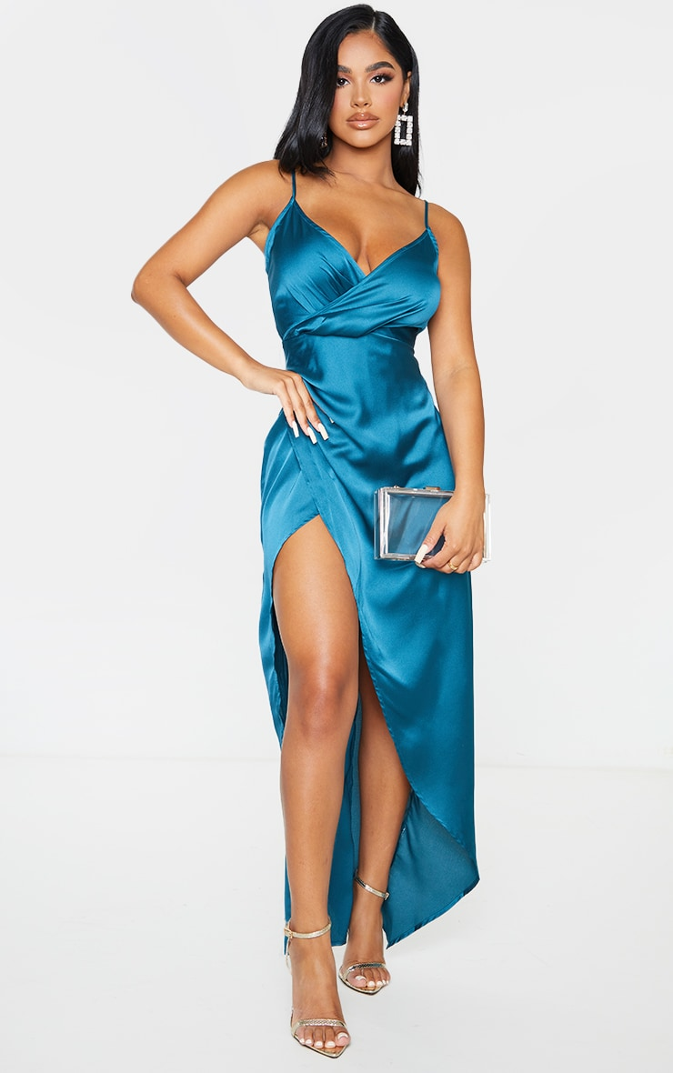 Petite Emerald Green Satin Wrap Detail Maxi Dress 1