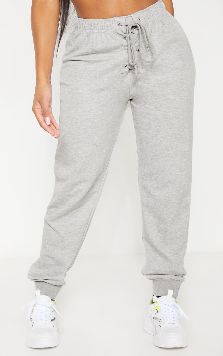 Shape Grey Lace Up Detail Sweat Trackpants 2