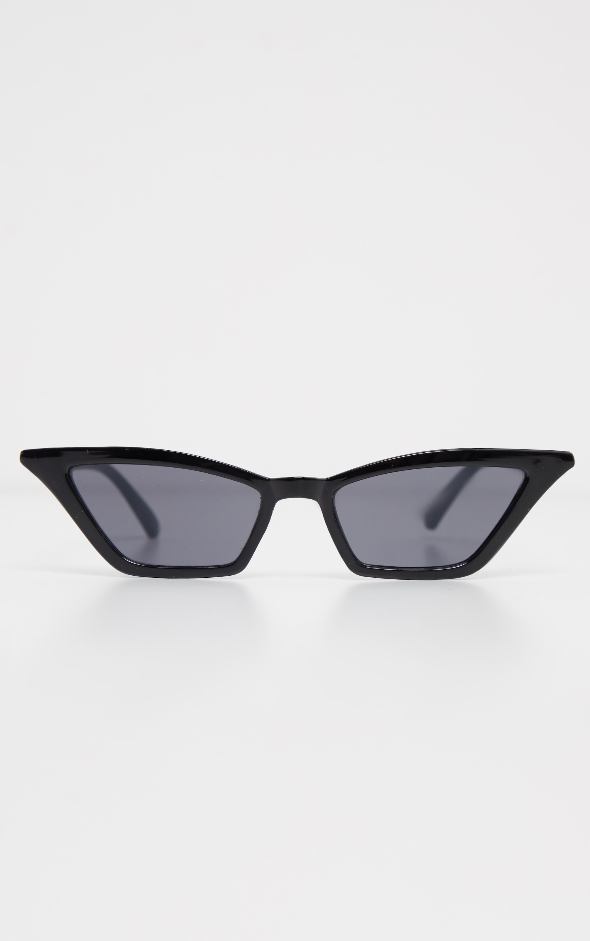 Black Narrow Slim Angular Cat Eye Sunglasses 2