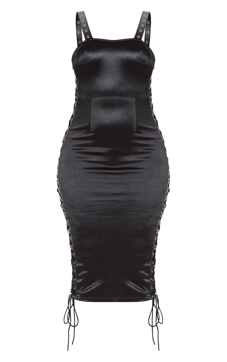 Black Satin Eyelet Detail Lace Up Midi Dress  4