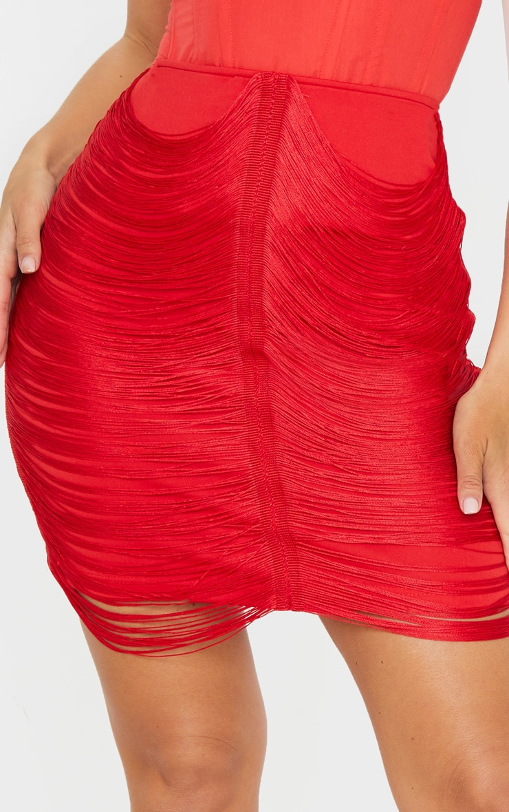 Red Tassel Detail Mini Skirt 5