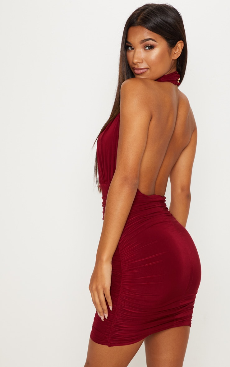 Maroon Slinky High Neck Ruched Side Dress 1