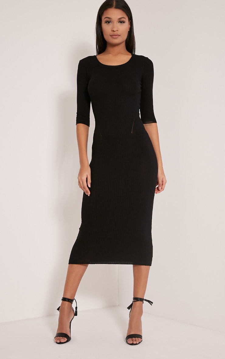 Ailia Black Knitted Midi Dress 1