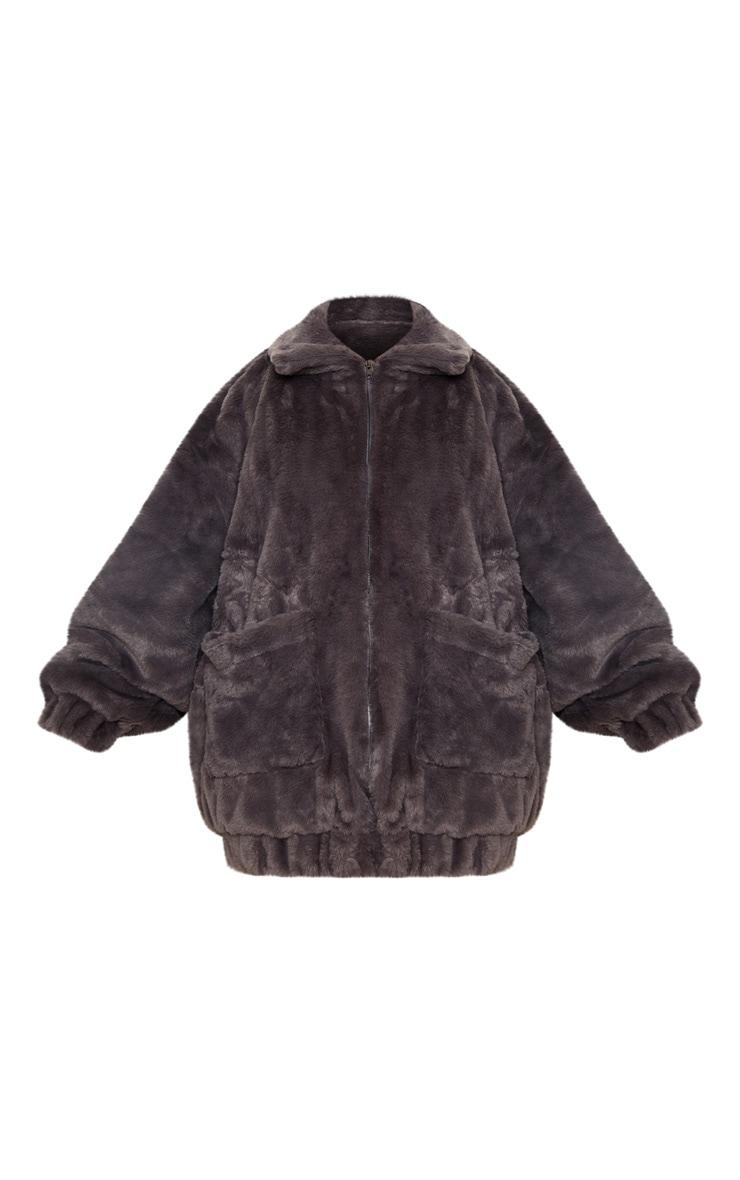 Plus Grey Faux Fur Pocket Front Coat 3