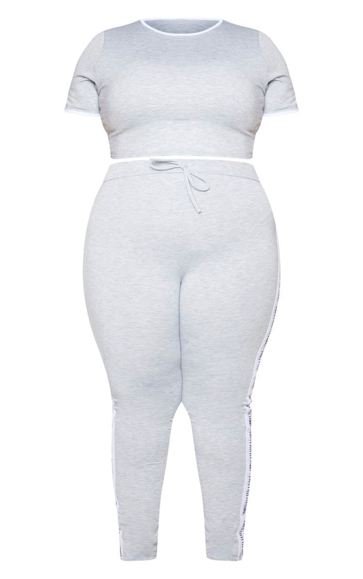 PRETTYLITTLETHING Plus Grey Long Pyjama Set 5