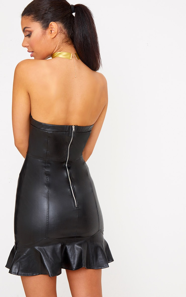 Black PU Frill Hem Bodycon Dress 2
