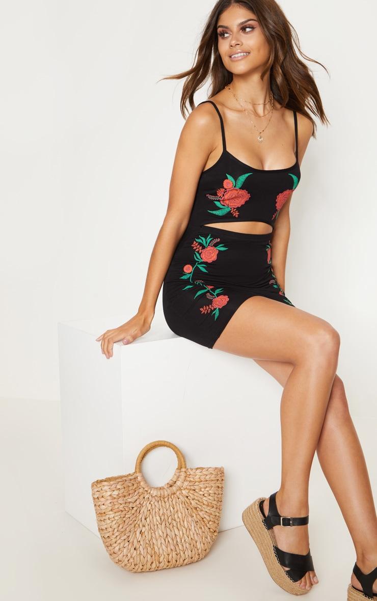Black Puff Print Cut Out Mini Dress  1
