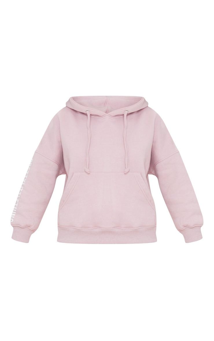 PRETTYLITTLETHING Petite Pale Pink Slogan Hoodie 5
