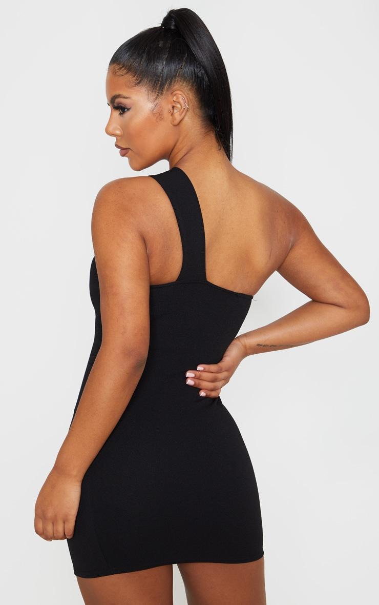 Black One Shoulder Strap Bodycon Dress 2