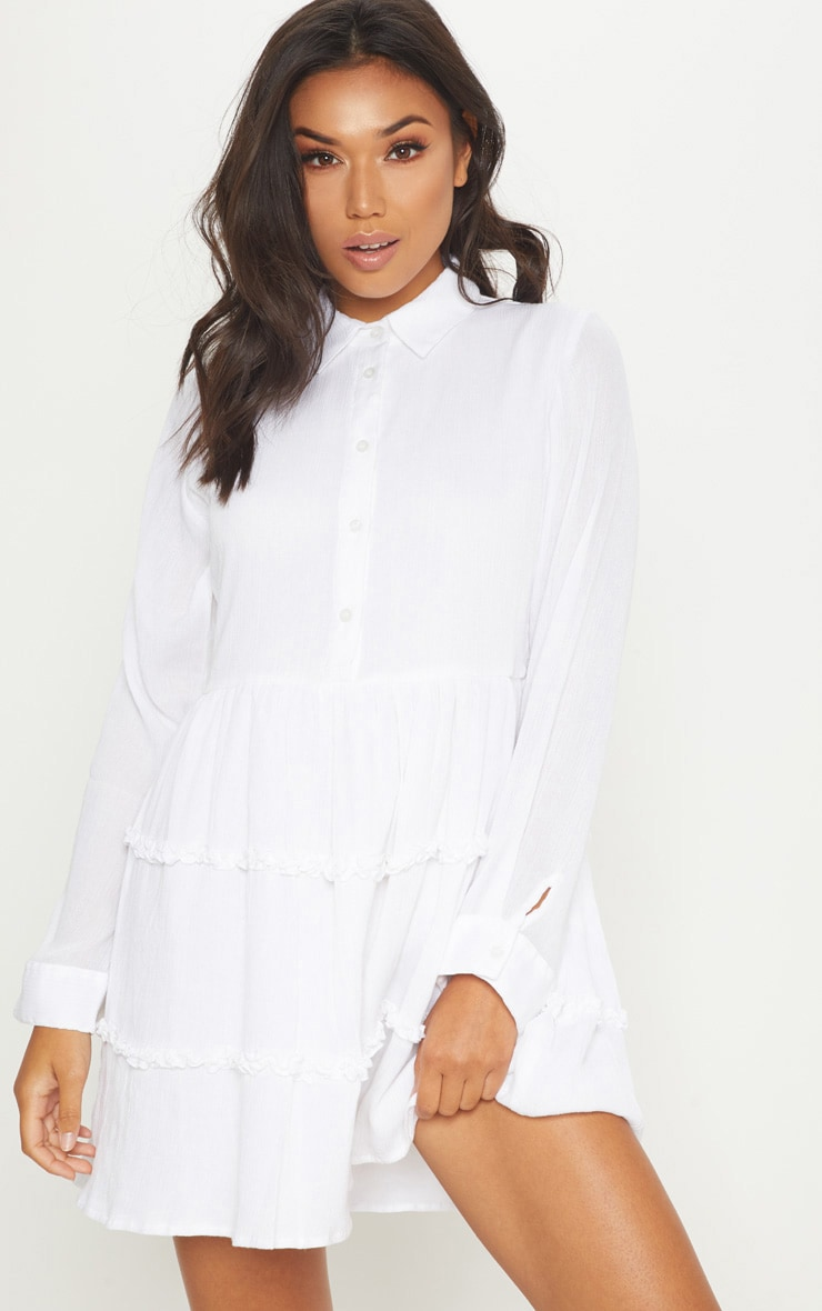 White Shirt Layer Frill Dress