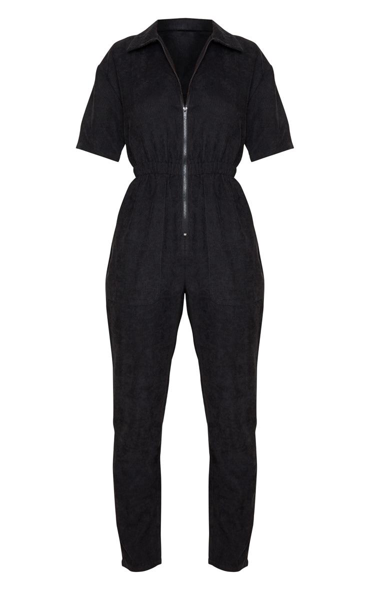 Black Cord Zip Through Short Sleeve Jumpsuit 3