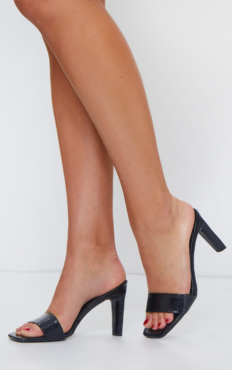 Black Low Heel Square Toe Single Strap Mule 1