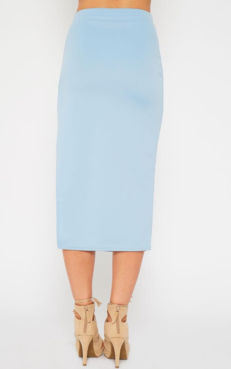 Savina Blue Side Split Midi Skirt 4