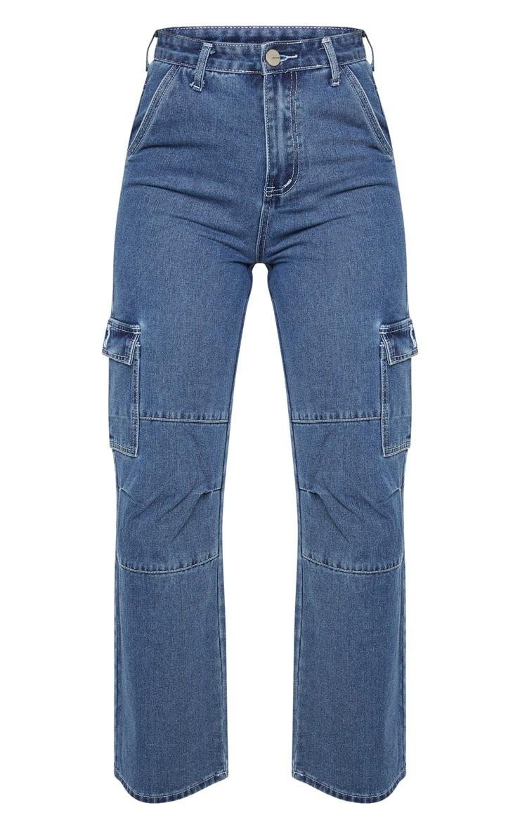Dark Wash Contrast Stitch Cropped Wide Leg Cargo Jean 3