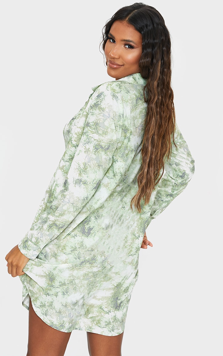 Green Acid Wash Oversized Beach Shirt 2