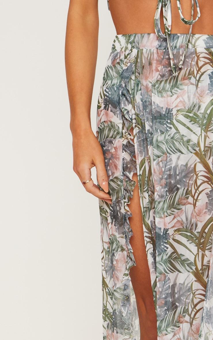 Pale Khaki Leafy Frill Split Maxi Skirt 6