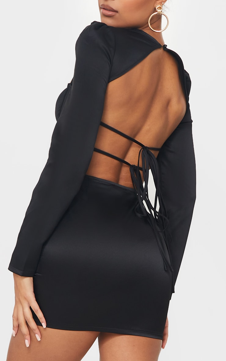 Black Long Sleeve Corset Detail Tie Back Bodycon Dress 4