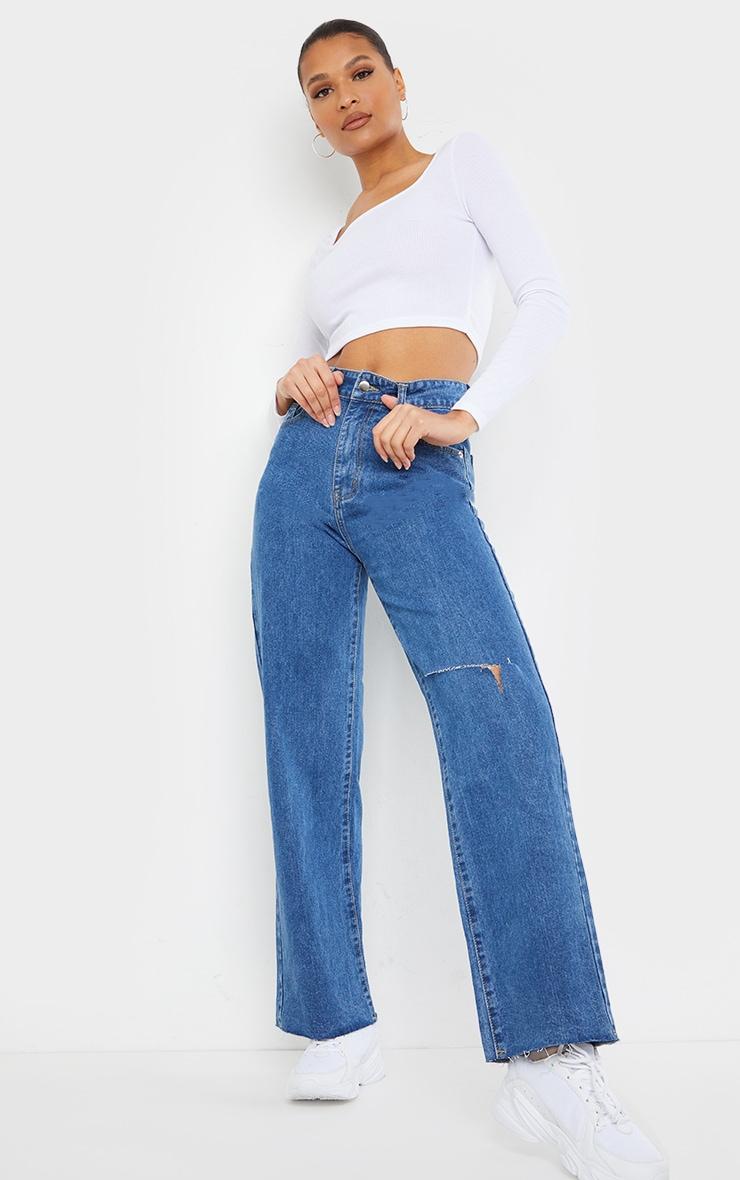 Mid Blue Wash Knee Rip Wide Leg Jean 1