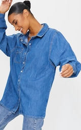 Mid Blue Wash Popper Denim Shirt 4