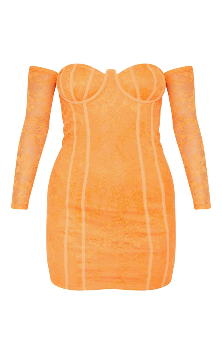 Bright Orange Lace Cup Detail Bodycon Dress 3