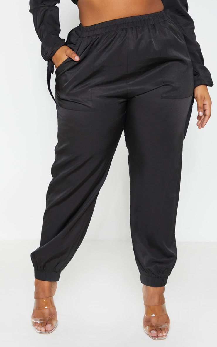 Plus Black Shell Pocket Detail Track Pants 2