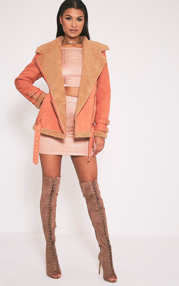Emilia Deep Peach Faux Suede Aviator Jacket 6