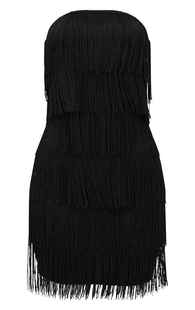 Black Tassel Detail Bandeau Bodycon Dress 3