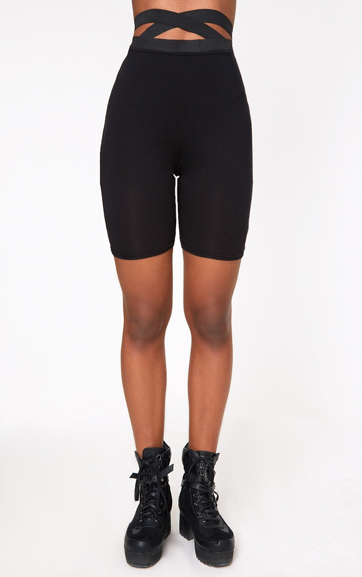 Black Strappy Waist Cycle Shorts 2