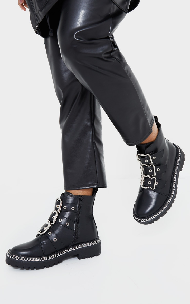 Black Wide Fit Triple Buckle Ankle Boots 2