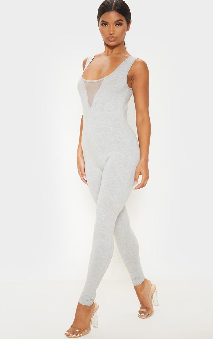 Grey Cotton Elastane Mesh Panel Sleeveless Jumpsuit 1