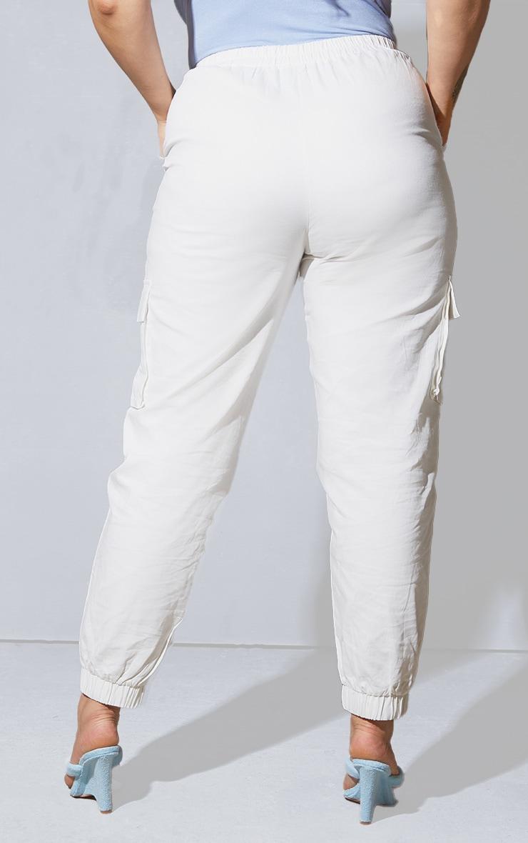 Plus White Cargo Detail Trousers 3