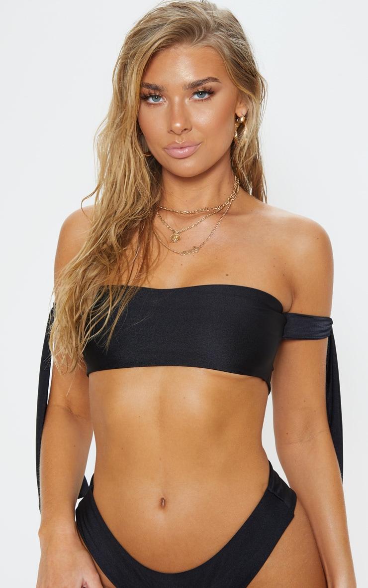 57e444dcb5c91 Black Tie Side Bardot Bikini Top image 1